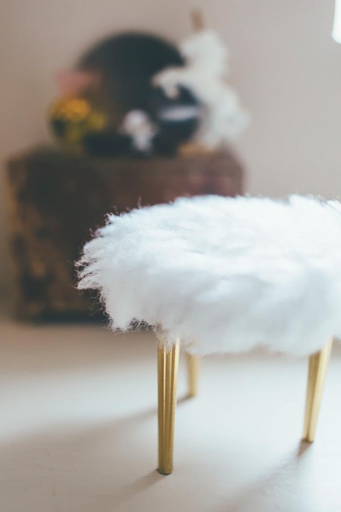 Vanity Stool Diy Stool: DIY Miniature Faux Fur Vanity Stool