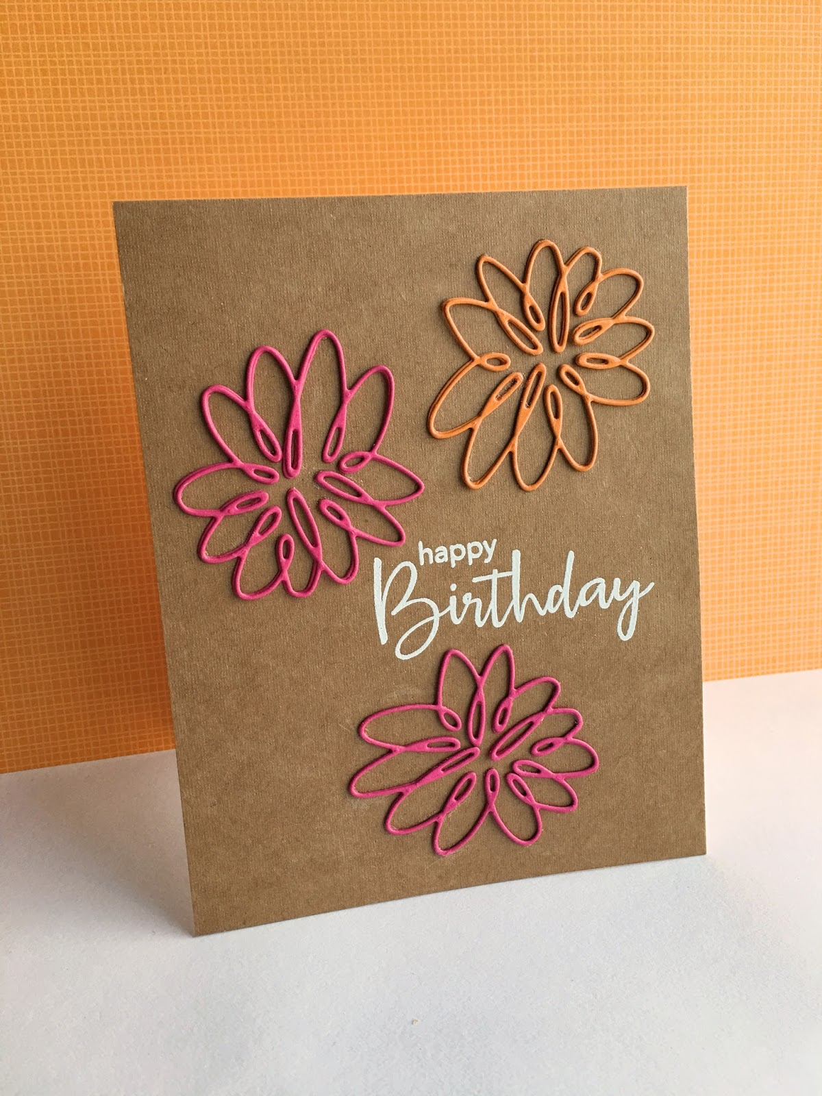 Im in haven spiral flower birthday this flower is so artsy and funi die cut then layered each flower twice the die is a bit intricate but i took my time and didnt mess up one flower izmirmasajfo