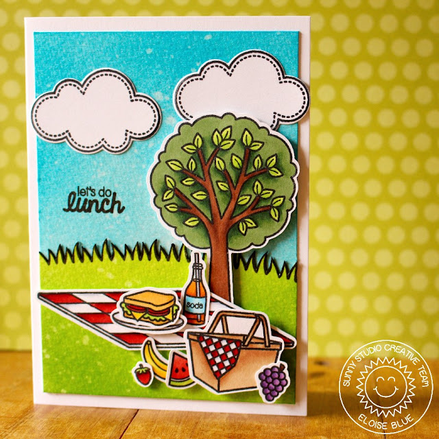 Sunny Studio Stamps: Summer Picnic & Sunny Sentiments Let's do Lunch Card by Eloise Blue.
