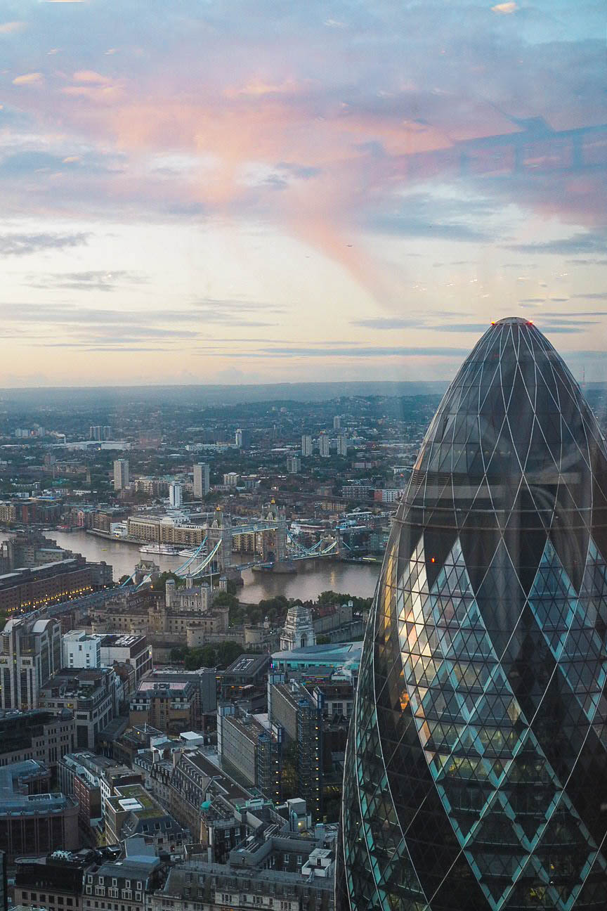 Heron Tower view over the Gherkin in London
