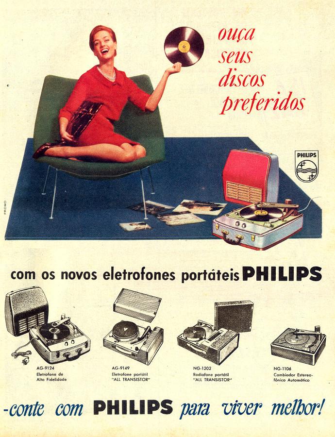 Propaganda da Philips apresentando a linha de toca-discos portáteis em 1961