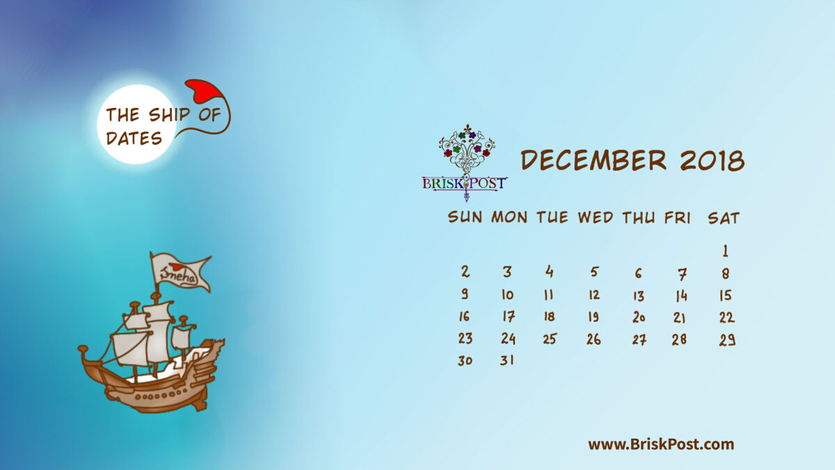 Monthly view of December 2018 Calendar with theme illustration of huge sea ship in night