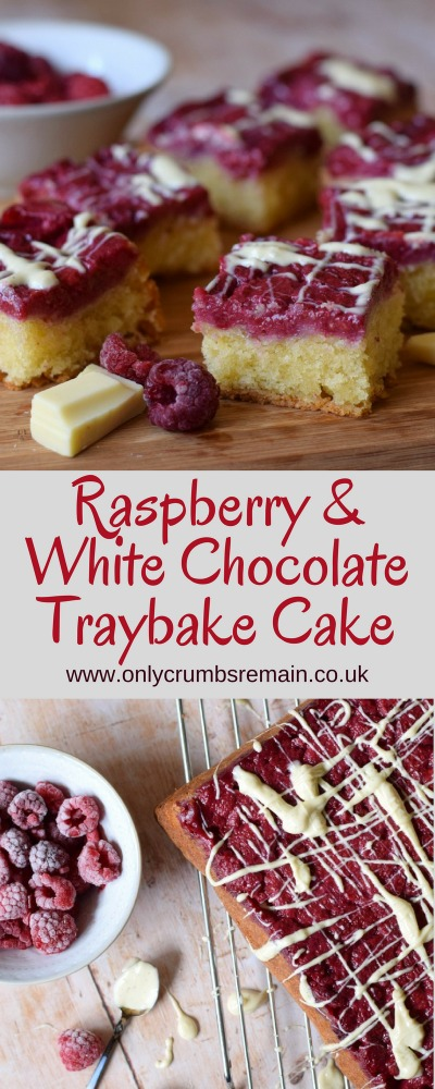How to make Raspberry and White Chocolate Traybake cake, a twist on a simple upside down cake recipe, with white chocolate drizzled over the seasonal fruits as well as included in the cake batter.