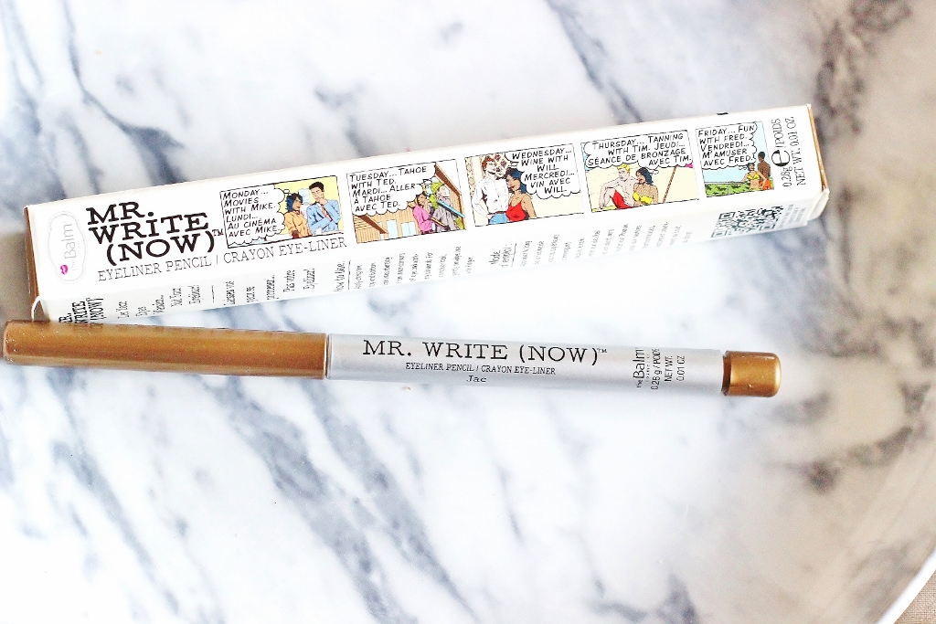 The Balm's Mr. Write (Now) eyeliner in Jac B. Bronze review and swatch