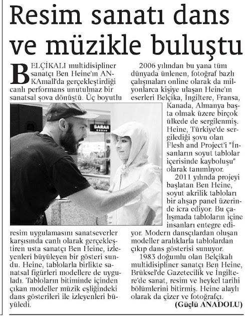 News report in Guclu Anadolu paper - Ben Heine Art - Flesh and Acrylic