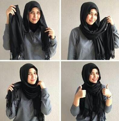 Tutorial hijab panjang terbaru