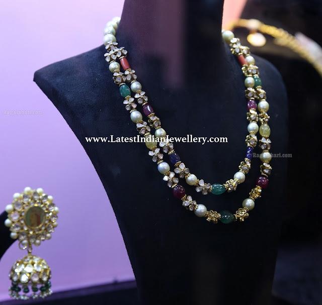 2 Line Navaratna Beads Necklace