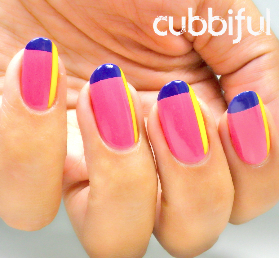 Color block geometrical nails