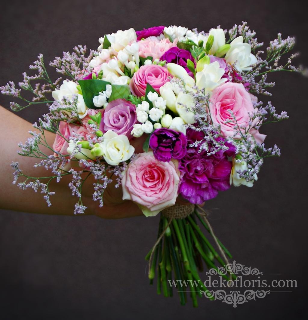 Różowy, rustykalny bukiet ślubny Głubczyce