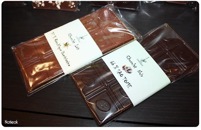 Tablette de chocolat noir  Sao Tomé et lait république dominicaine de Paris Chocolat