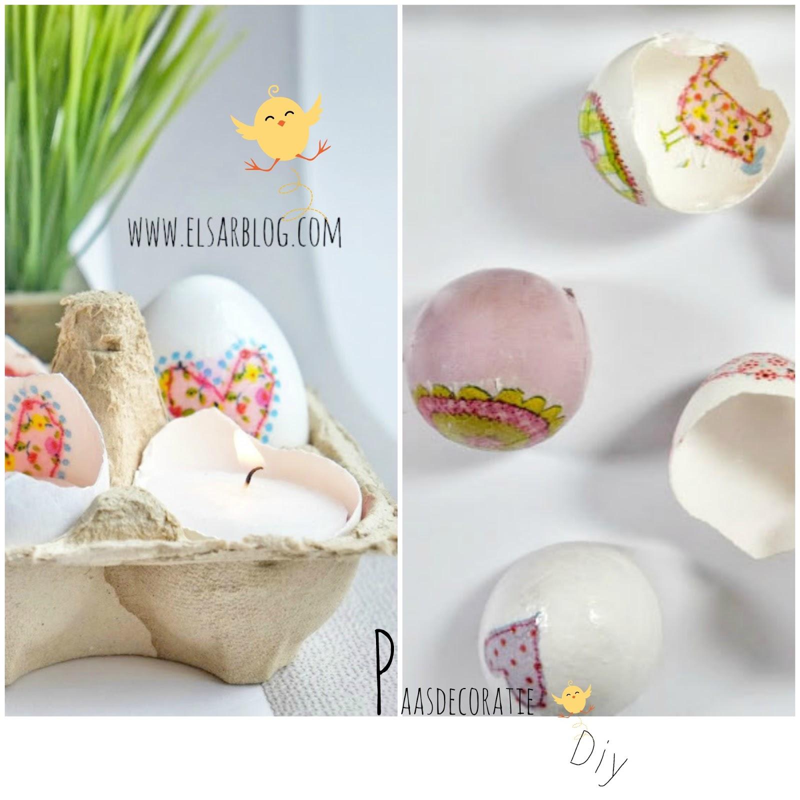 Paasdecoratie met servetten en kapotte eieren als theelichtjes houder  (Diy)