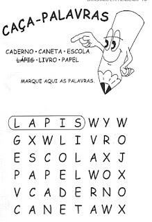 Caça-palavras materiais escolares