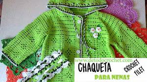 Chaqueta con capucha para nenas a crochet