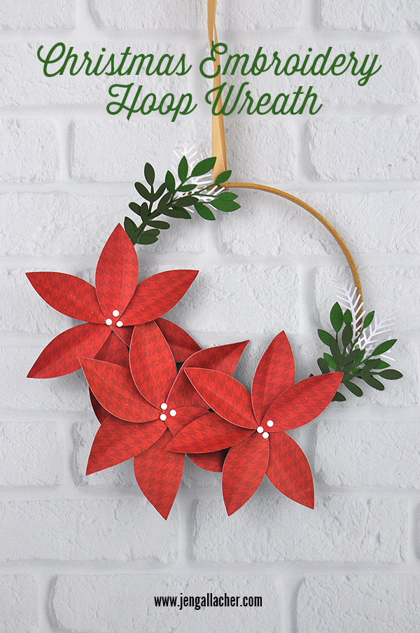 Christmas Embroidery Hoop Wreath designed by Jen Gallacher for www.echoparkpaper.com. #christmaswreath #embroideryhoopwreath #christmascraft #jengallacher #echoparkpaper