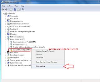 SCI USB Driver Spreadtrum tanda seru kuning