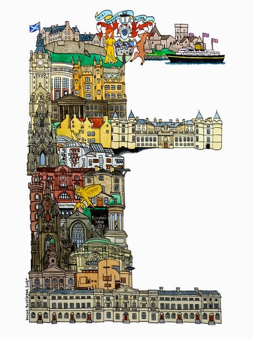 05-E-Edinburgh-UK-Hugo-Yoshikawa-Illustrated-Architectural-Alphabet-City-Typography-www-designstack-co