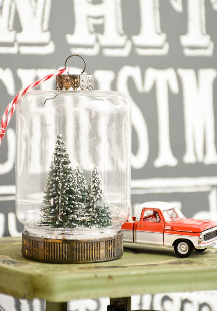 Bottle brush tree Dollar Tree mason jar ornament
