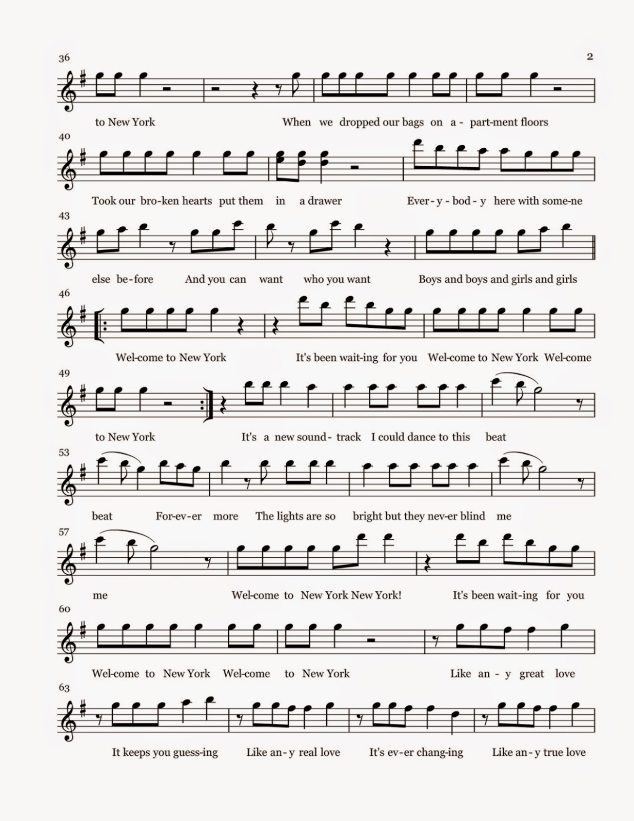 Flute sheet music welcome to new york sheet music for House house house house music song