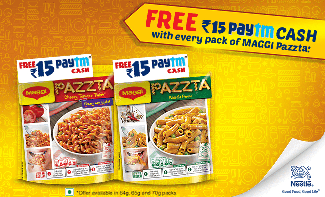 Paytm Maggi Pazzta Offer : Get Free Rs.15 Paytm Cash on Every Pack of Maggi Pazzta