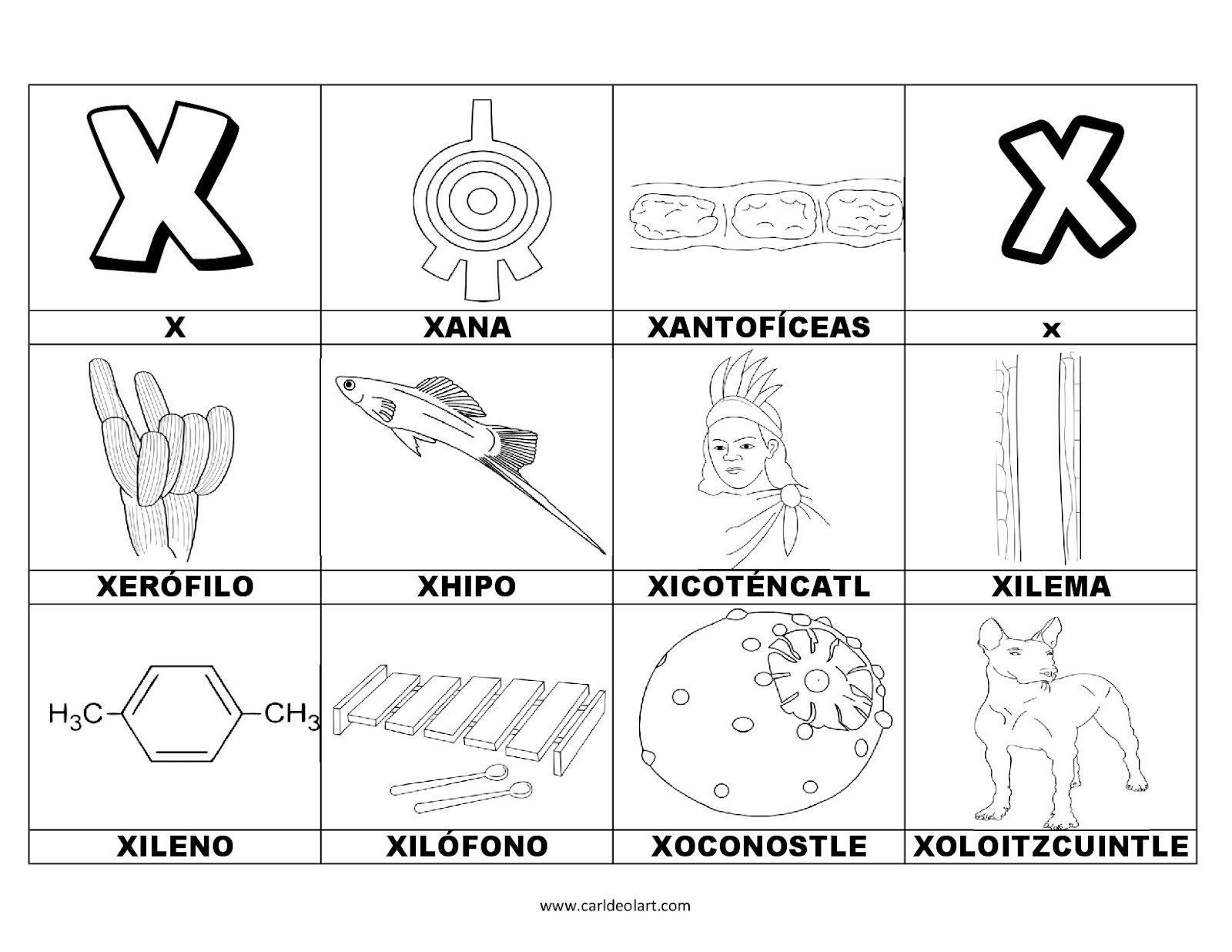 Dibujos Para Colorear Palabras Con X Dibujospacolorear