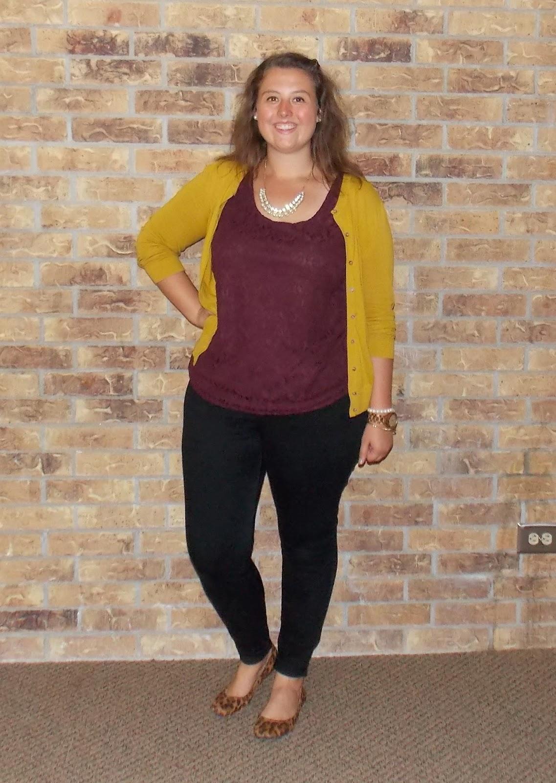 maroon lace tank, mustard cardigan, black skinny jeans, leopard flats