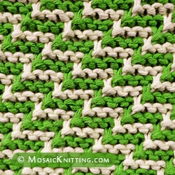 Staircase stitch uses a simple slip-stitch technique. You only have to knit with one color at a time.