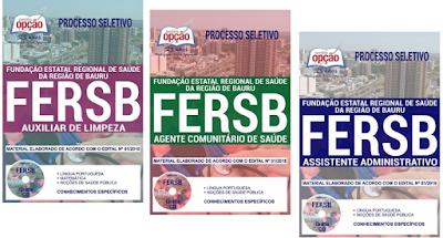 apostila concurso Fundação Estatal Regional de Saúde da Região de Bauru - FERSB SP.