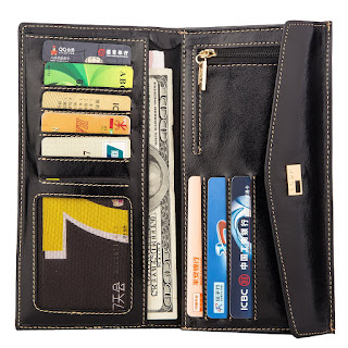 Deal now! £20.99 Termichy® Women Fashion Genuine Leather Envelope Clutch Wallet Bifold Slim Purse Cards Coin Phone Case Checkbook Holder (Black)