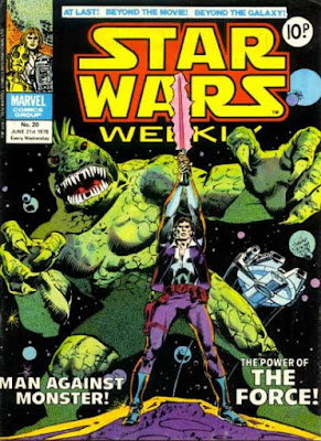 Star Wars Weekly #20, han solo holding a light saber above his head as a monster looms behind him