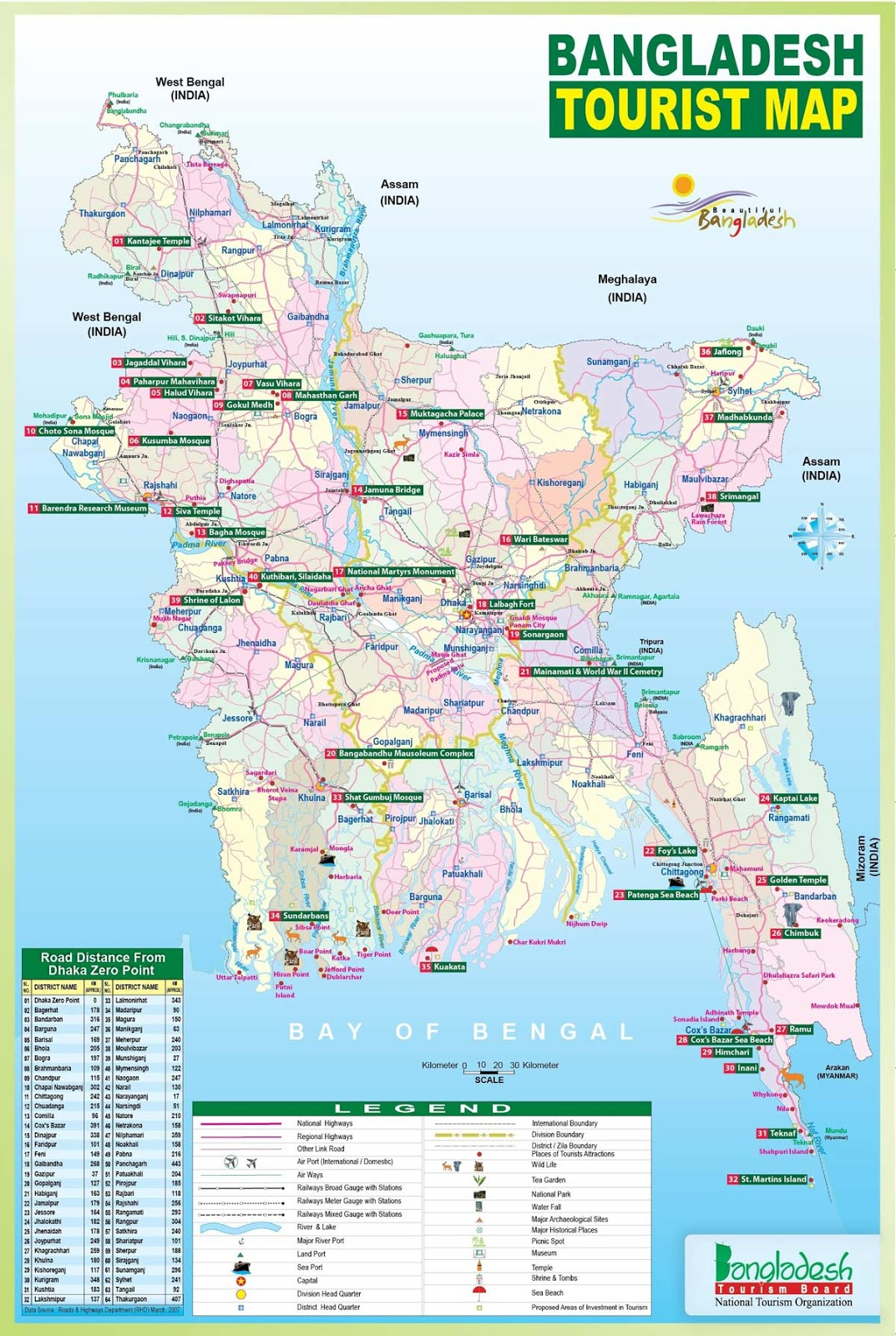 Tourist Map of Bangladesh
