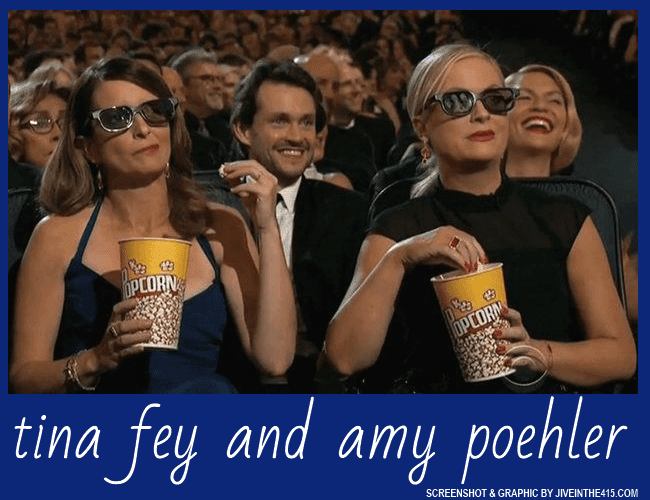 Comics Tina Fey and Amy Poehler heckle the host of the Emmy Awards