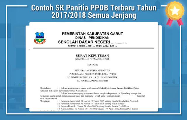 Contoh SK Panitia PPDB Terbaru Tahun 2017/2018 Semua Jenjang