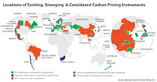 Locations of Carbon Pricing Instruments (Credit: worldbank.com) Click to Enlarge.