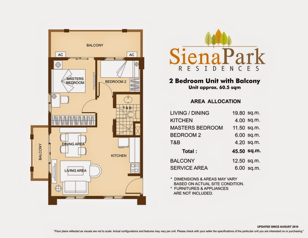 Siena Park Residences 2-Bedroom Unit 45.50 sqm