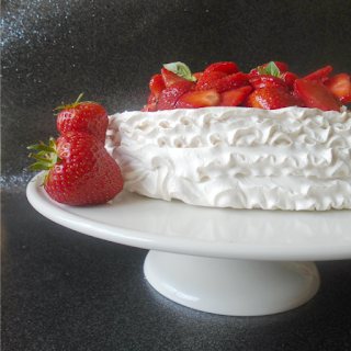 Pavlova with Strawberries & Basil