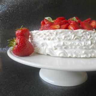 Pavlova with Strawberries & Basil