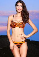 Costume baie Orange Leopard ( )