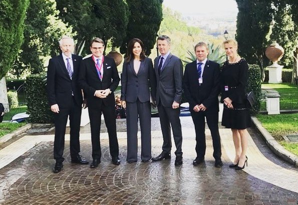 Crown Prince Frederik and Crown Princess Mary attended the official opening of the business campaign at Villa Miani