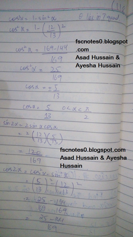 FSc ICS FA Notes Math Part 1 Chapter 10 Trigonometric Identities Exercise 10.3 Question 1 - 4 Written by Asad Hussain & Ayesha Hussain 1
