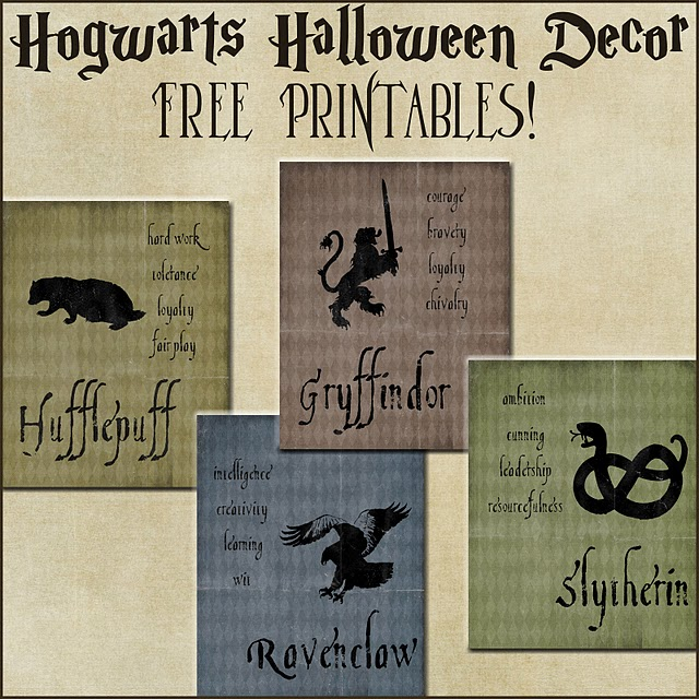 Halloween Decor Harry Potter House Posters