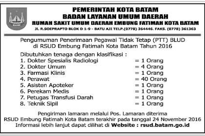 Penerimaan Pegawai Tidak Tetap (PTT) Rumah Sakit Umum Daerah Emung Fatima Kota Batam