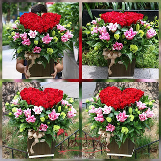 Heart shaped flowers for birthday in Hochiminh city