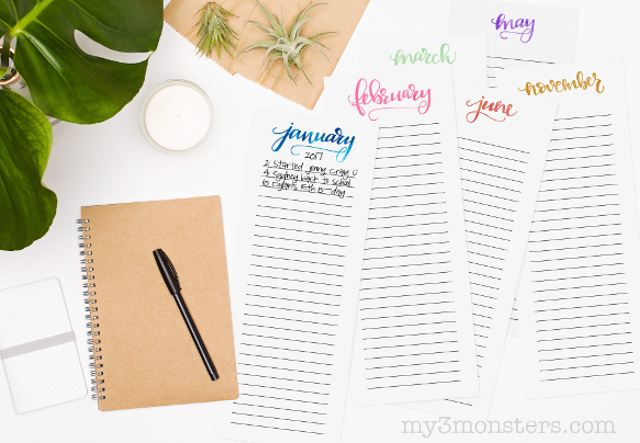 Download this darling printable Hand Lettered Memory Calendar from my3monsters.com and start recording all your special memories and happy moments this year!