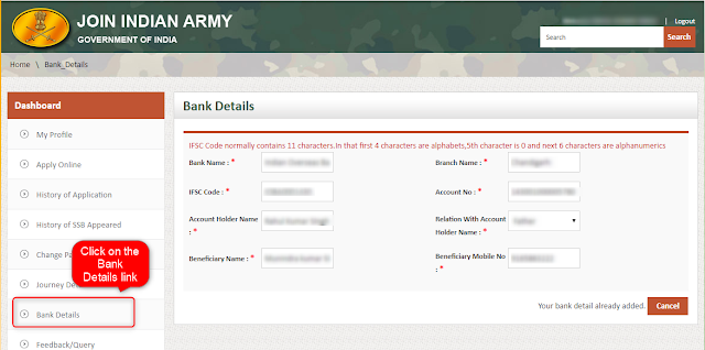 Bank Information tab from Joinindianarmy interface