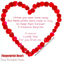 valentines day craft ideas for kids: fingerprint poem keepsake