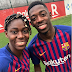 Super Falcons star Asisat Oshoala pictured with french footballer Ousmane Dembélé