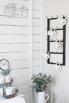 diy hanging coffee display rack. The best diy farmhouse decor projects for you home! Farmhouse decor and decorating ideas.