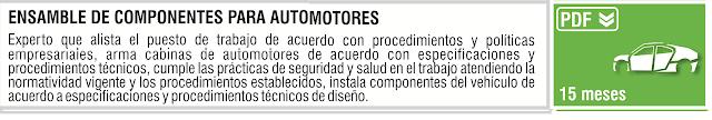 ENSAMBLE DE COMPONENTES PARA AUTOMOTORES