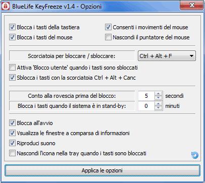 BlueLife KeyFreeze finestra delle opzioni