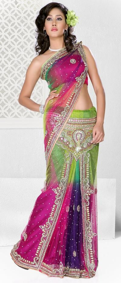 Multi Color Lehenga Saree